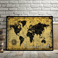 "World Map Poster Travel Quote Graduation Gift World Map Poster ""Wanderlust"" Inspirational Quote Vintage Map World Map Art INSTANT DOWNLOAD"
