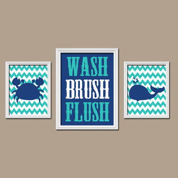 Nautical Bathroom Boy Girl Wall Art Canvas Artwork Child Crab Whale Wash Brush Flush Chevron Blue Turquoise Set of 3 Trio Prints Decor