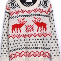 Sheinside Women's Christams Deer Print Loose Pullovers Sweater