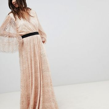 Y.A.S All Over Lace Wrap Maxi Dress at asos.com