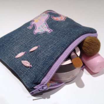 Zippered Squirrel Denim Coin Purse - Handmade