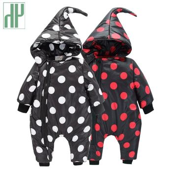 Baby Clothes winter Infant Romper Baby Boys Girls Jumpsuit newborn unisex polka dot Clothing Hooded Toddler Cute baby snowsuit