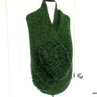 Large Green Circle Shawl, Hand Knit Infinity Shawl, Gift for Her