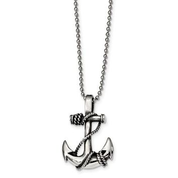 Stainless Steel Antiqued And Polished Anchor Necklace
