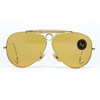 Rare Vintage Ray Ban Aviator Shooter Ambermatic Bausch-Long Women's Sunglasses