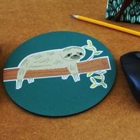 Lazy Sunday sloth hanging from tree mouse pad with cute art by Kathleen Habbley oh yeah mousepad