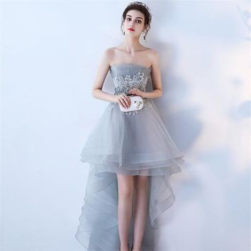 Strapless Asymmetrical Elegant Evening Dresses Flower Party Formal Dress