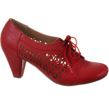 Riveting Rosie Cutout Oxford Heels in Cherry