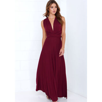 New Winter Sexy Women Party Maxi Dress Bandage Long Dress Sexy Multiway Bridesmaids Convertible Wrap Dress Robe Longue femme