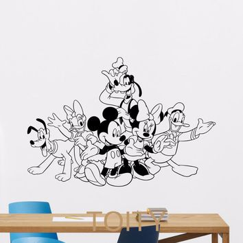 Mickey Minnie Mouse Donald Goofy Pluto Wall Sticker Cartoon Vinyl Decal Home Kids Nursery Room Interior Decor Children Art Mural