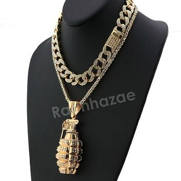 Hip Hop Iced Out Quavo Grenade Miami Cuban Choker Tennis Chain Necklace L32