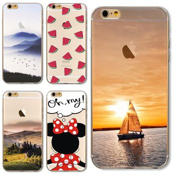TPU Cover For Apple iPhone 5 5S SE 6 6S Plus 7 7S 7Plus Cases Phone Shell Beauiful Painted Setting Sun Sea Sailing Top Popular