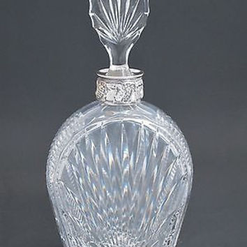 Hand Cut glass silver ring neck decanter oblong stopper Portugal