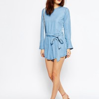 ASOS Denim Frill Cuff Romper In Light Blue Wash