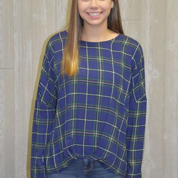 Make a Plan Plaid Print Top