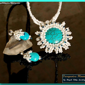 Turquoise Flower, handmade set, beaded set, white beads, turquoise beaded flower, turquoise beadwork