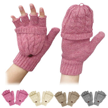 Fingerless Gloves for Covering Girl's Winter Clothing Accessories of Two Feature in 1