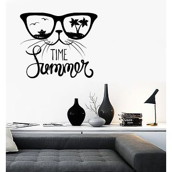 Wall Vinyl Decal Cat in Sunglasses Words Time Summer Home Decor Unique Gift (n1304)