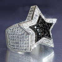 Sterling Silver 3D Black & White Custom Star Ring