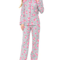 Gray Rose Print Flannel Pajama Set
