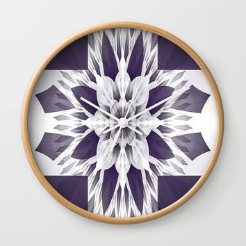 Elegant Purple Fractal Wall Clock by kasseggs