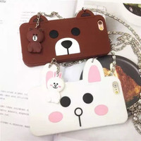 Silicone Phone case Brown bear and Minnie rabbit Apple Mobile Phone case Iphone5 5S Iphone6 6S Iphone6 Plus Case