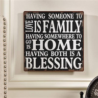 Family Home Blessing Sign