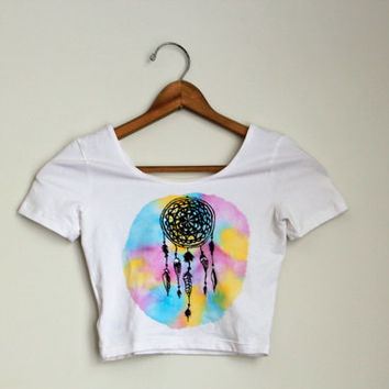 crop top // dreamcatcher one of a kind hand-painted unique hipster original indie dream catcher watercolor tie dye