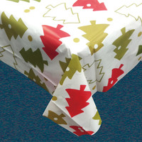 Christmas Whimsy Vinyl Tablecloth w/ Polyester Flannel Backing