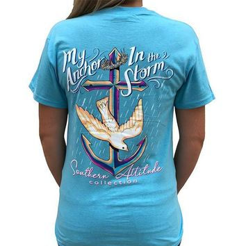 Southern Attitude Preppy Anchor In The Storm Blue T-Shirt