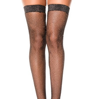 Shimmery Fishnet Thigh Highs