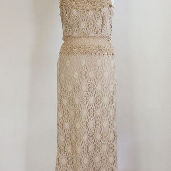 Vintage Bohemian Taupe Lace Dress