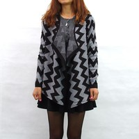 Geometric Pattern Open Women Cardigan Sweater Coat Cotton Knitwear