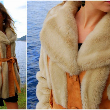 60s Vintage Lilli Ann Luxury Faux Fur Coat - Soft Suede Leather Panels - LONDON LEATHERS - 1960's Mod Jacket - Cream Fur Coat - Boho Hippie