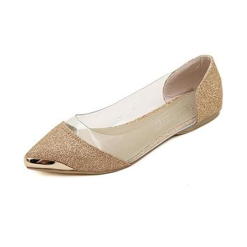 Metal Shiny Pointed Flat Slip On Loafers For Women