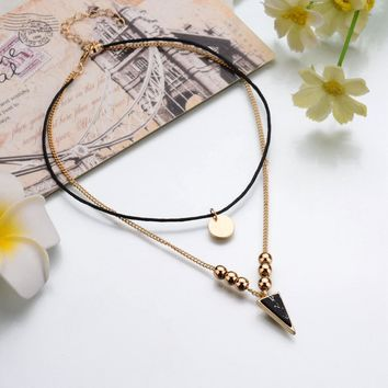 Triangle Faux Indian Stone-Chokers Double Layer