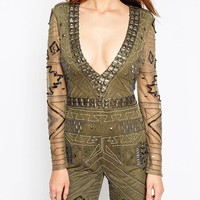 ASOS Premium All Over Embellished Unitard
