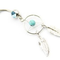 "316l Surgical Steel 14g 7/16"" Crystal Dream Catcher Belly Navel Barbell Ring Body Jewelry + 1 Retainer"