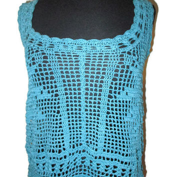 Roses filet crochet tank top teal, size small