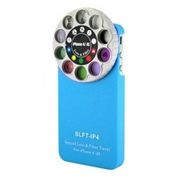 Minidandan Funny Special Lens and Filter Turret Camera Phone Case for Apple Iphone 4 and 4s (blue)