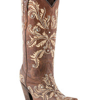 Lucchese 1883 Studded Redwood Angelina Design Cowgirl Boot
