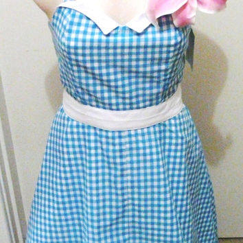 Pin Up Dress Rockabilly Clothing 50s Swing Halter Blue Pink Gingham Plus Size Housewife Sundress