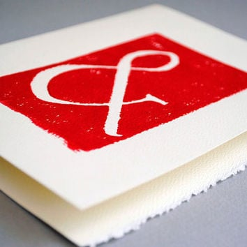 Red Ampersand Blank Notecard Typography Greeting by CursiveArts