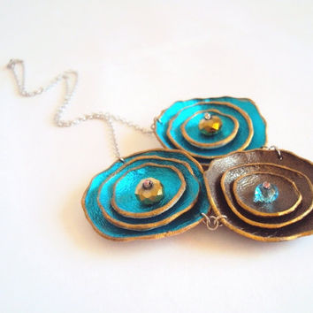 Leather Necklace Turquoise Blue and Chocolate Brown Flowers - Rhodium Chain Floral Leather Jewelry
