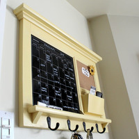 Kitchen or office Mail Organizer Calendar Black Dry Erase board Bulletin Board, Mail Slot, Hooks Shelf in Black, Red, White, Brown or Yellow