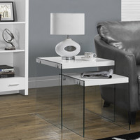Glossy White/Tempered Glass 2 Piece Nesting Table Set