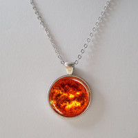 Sun Pendant Necklace - Glass Pendant Sun Necklace- Solar System- Galaxy Series