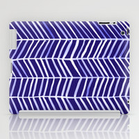 Herringbone – Navy & White iPad Case by Cat Coquillette