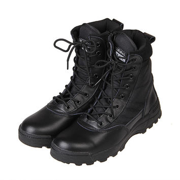 2016 New Fashion Sport Army Men's Tactical Boots Hight Quality Outdoor Hiking Lace Up Leather Boots   39-45 For Man