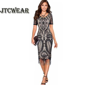 Elegant Floral Crochet Hollow Out Lace Chic Evening Sheath Fitted Bodycon Tassel Dress